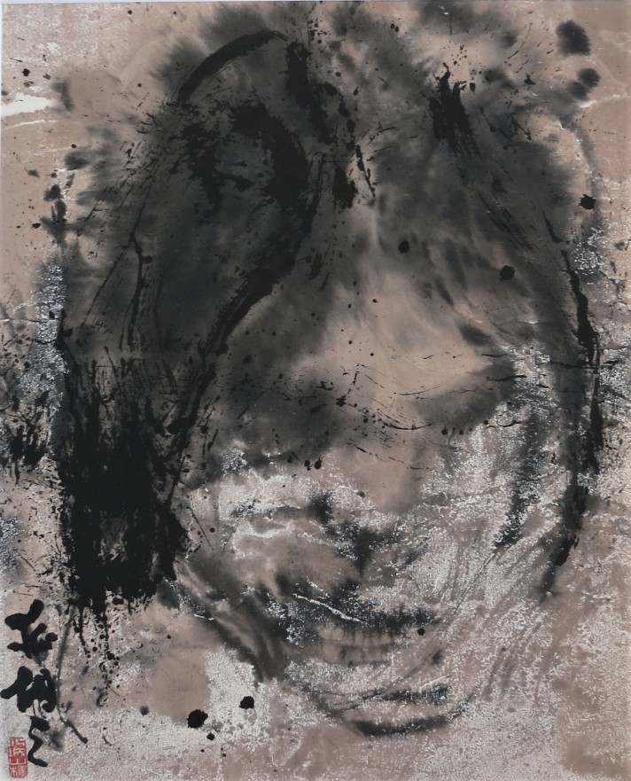 portrait of a chinese girl on rice paper