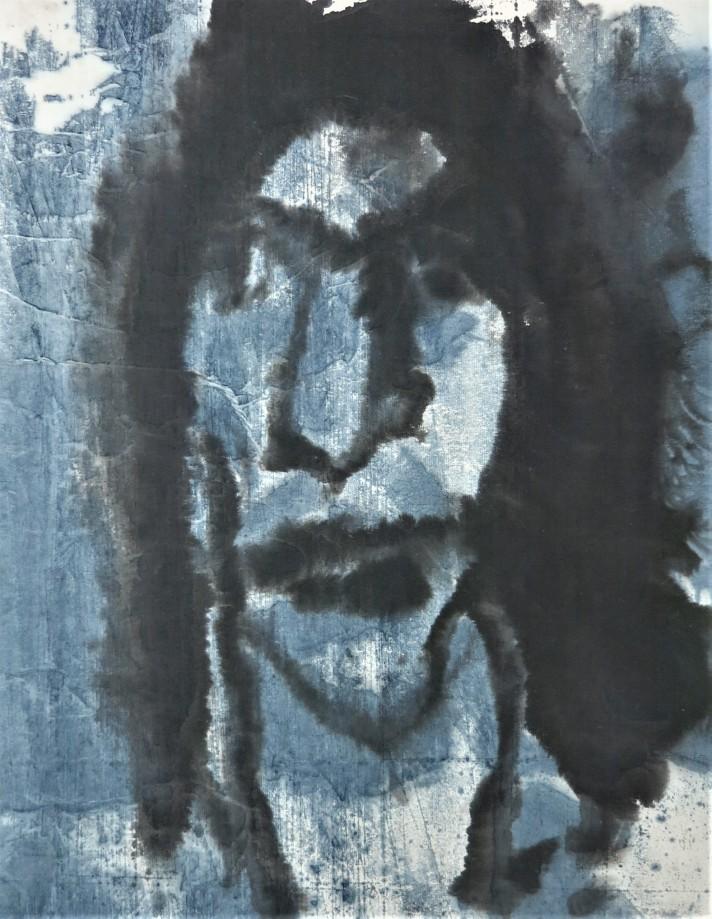 portrait black and blue