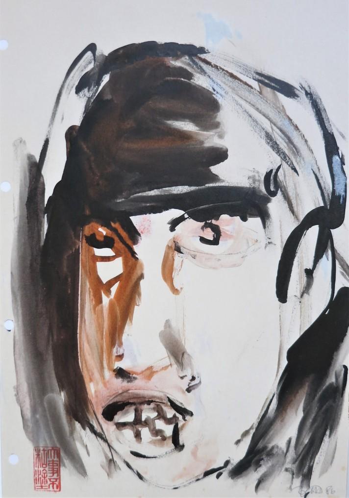portrait finger painting ink on paper