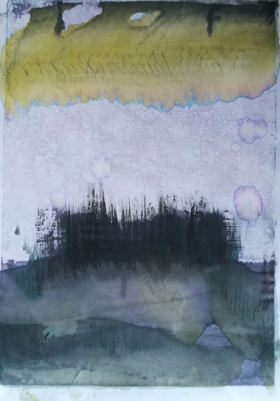 painting inspired by Hideaki Yamanobe and Gerhard Richter' cloud