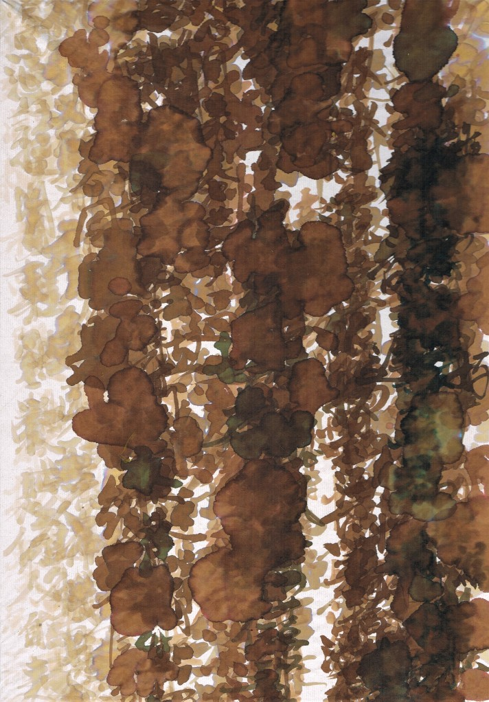 painted calligraphy brown ink on rice paper